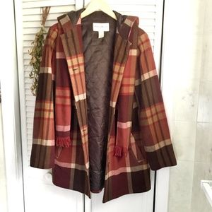 {Eddie Bauer} Red Plaid Merino Wool Hooded Coat, M